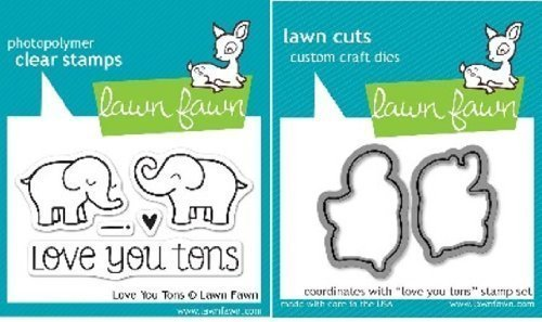 Lawn Fawn Love You Tons Clear Stamp and Steel Die Set - Includes One Each of LF598 (Stamp) & LF600 (Die) - Custom Set by Lawn Fawn