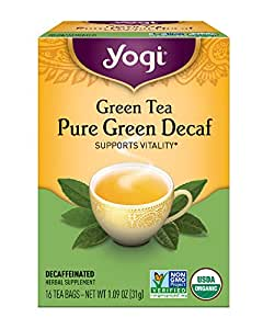 Yogi Tea - Green Tea Pure Green Decaf - Supports Vitality - 6 Pack, 96 Tea Bags Total