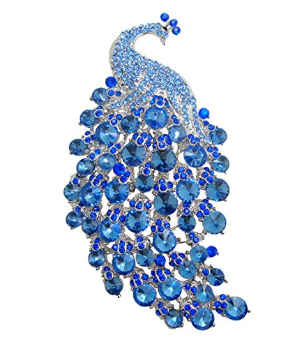 Pin Brooch Art Nouveau (TTjewelry Art Nouveau Gorgeous Peacock Crystal Rhinestone Brooch Pins (Blue))