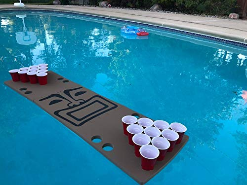 Tiki Guy Foam Beer Pong Table - 6ft, Foam, All Weather, Portable - Floats Anywhere by Floating Pong