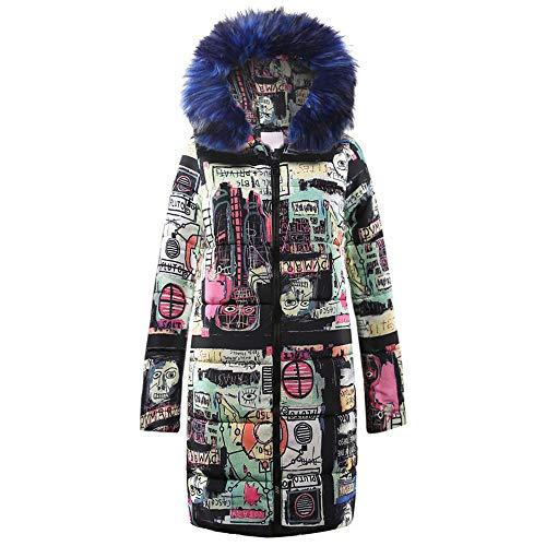 Vectry del vestiti modello con Vendita Blu cappuccio di della inverno caldi incappucciato donne Parka Chaqueton graffiti spesso del stampa wrrIq6