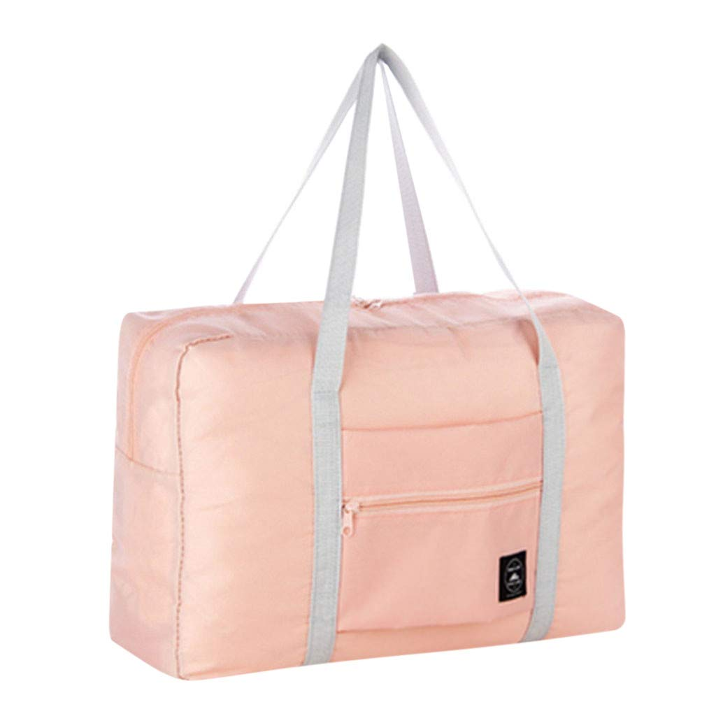 Travel Duffel Bag Foldable Lightweight Waterproof Large Capacity Luggage Tote with Sturdy Handles and Zipper Anti Dust Washable Durable Easy to Clean Carry-on Totes (Pink) by paway (Image #1)