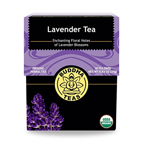 (Organic Lavender Tea, 18 Bleach-Free Tea Bags - Organic Caffeinated Tea is a Great Source of Vitamins, Minerals, and Antioxidants, Relieves Anxiety, Supports Healthy Sleep and Brain Function, No GMOs)