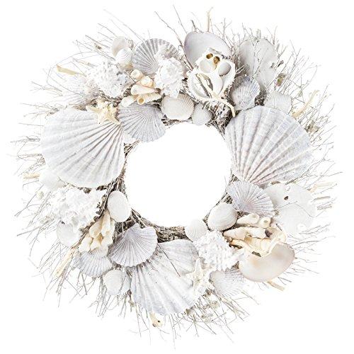 White Seashell and Branch Wreath Coastal Home Decor - Nautical Decor - Beach Cottage Decor (Pam Branch)