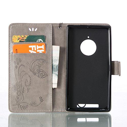 Funda Microsoft Nokia Lumia 830 OuDu Carcasa de Billetera Funda PU Cuero Carcasa Suave Protectora con Correas de Teléfono Funda Arbol Flip Wallet Case Cover Bumper Carcasa Flexible Ligero Ultra Delgad Gris-Plata