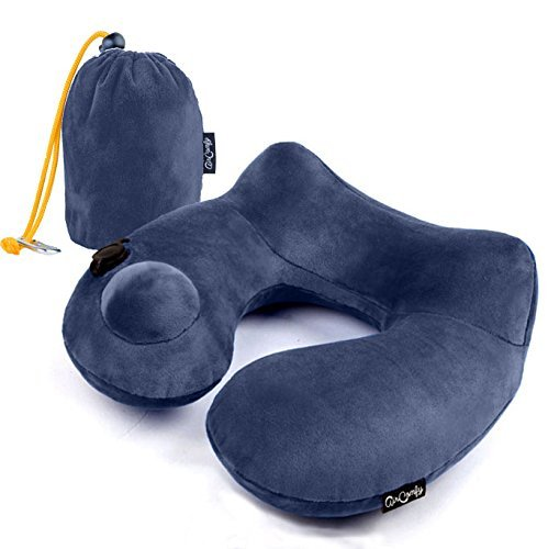 JHion Push-Button Inflatable Daydreamer Neck Pillow with Airplane Travel Packsack and Luggage Clip(Dark (Daydreamer Velour)