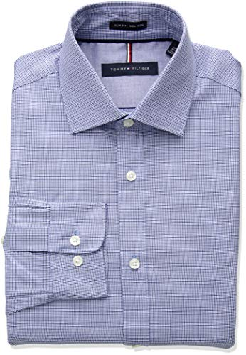 Cobalt Iron - Tommy Hilfiger Men's Dress Shirts Non Iron Slim Fit Check, Cobalt, 15.5