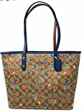 COACH PAINTED FLORAL SIGNATURE CITY ZIP TOTE SV/KHAKI BLUE MULTI