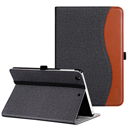 Ztotop iPad Mini 1/2/3 Case, Premium Leather Folio Stand Protective Case Smart Cover with Multi-Angle Viewing, Pocket, Functional Elastic Strap for Apple iPad Mini 3/Mini 2/Mini 1 - Denim Black Brown