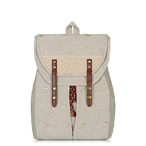 Wenl Backpack Canvas Backpack Girls National Wind Shoulder Bag College Students, Earthcolor Embroideryjacquard