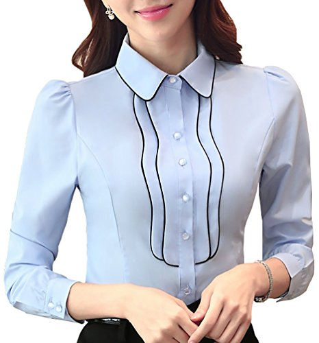 JHVYF Women's Casual Chiffon Button Down Shirt Ladies Long Sleeve Slim Fit Blouse Tops Blue US 8(Asian Tag 3XL) ()