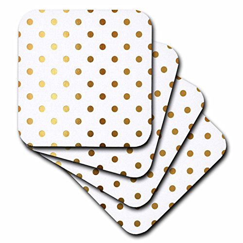 - 3dRose Anne Marie Baugh - Patterns - Glam Faux Gold Dots On A White Background - set of 4 Ceramic Tile Coasters (cst_283161_3)