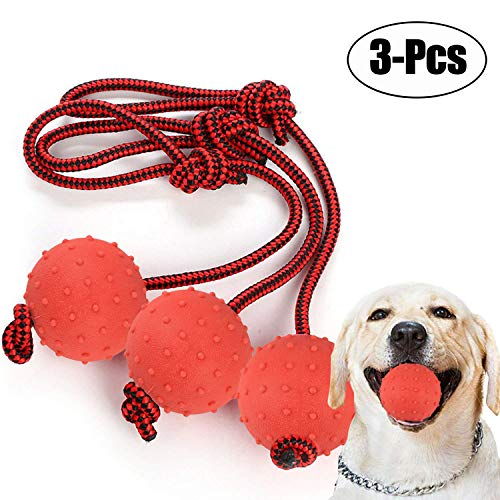 (Legendog 3 Pcs Dog Chew Toys,Durable Tough Ball Dog Toys Solid Rubber Interactive Dog Chew Ball with Rope Pet Chew Toys)