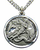 Saint Michael Round Pewter Medal Pendant 1 Inch on 24 Inch Stainless Steel Chain Gift