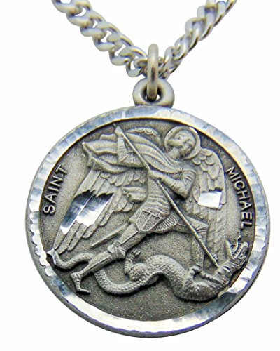Saint Michael Medal Necklace (Saint Michael Round Pewter Medal Pendant 1 Inch on 24 Inch Stainless Steel Chain Gift)