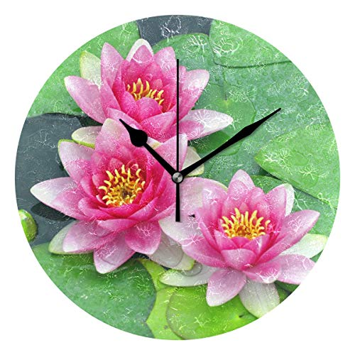(LORVIES Pink Water Lilies Wall Clock Silent Non Ticking Acrylic Decorative 10 Inch Round Clock for Home Office School)