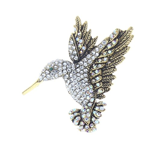 Flying Humming Bird Rhinestone Pin Brooch Scarf Clips Corsage Jewelry for Lady Broach Pendant (Flying Bird Pin)