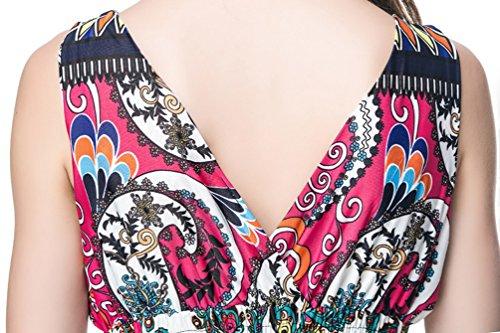 WanYang Mujer Verano Noche Fiesta de Floral Impresión Deep V-Neck Sin Mangas de Vestido de Playa Sundress #_1