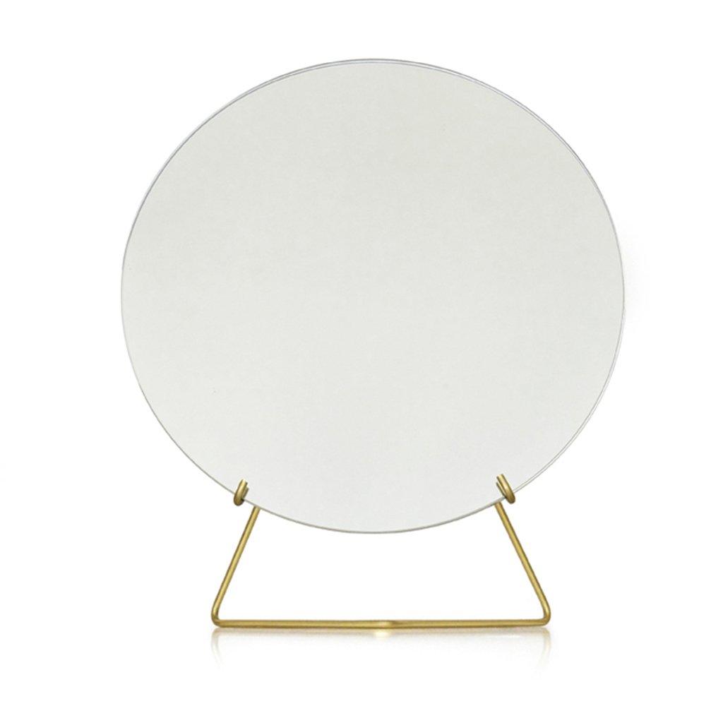 LRXG Cosmetic Mirror Desktop Nordic Simplicity Circular Metal Minimalist Creative Design Princess Mirror (Color : Gold)