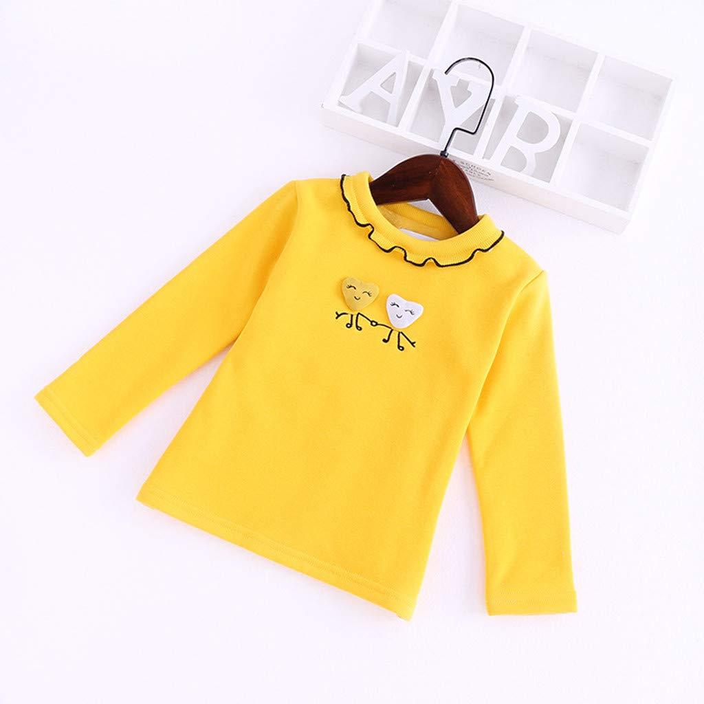 Zerototens Girls Plain T-Shirt,Toddler Infant Baby Long Sleeve School Basic Top Crew Neck Uniform Jumper Ruffles Base T-Shirt 1-5 Years Old