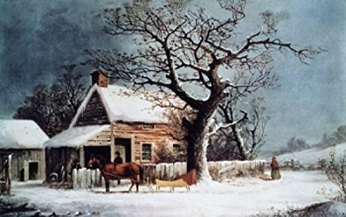 American Winter Scene A Country Cabin Currier & Ives (1834-1907 American) Poster Print (18 x (Currier Ives Winter Scenes)