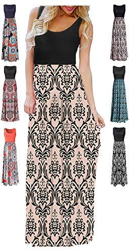 LIYOHON Womens Summer Striped Print Loose Maxi Dress Contrast Sleeveless Tank Top Floral Print Long Maxi Dresses for Women Black Apricot-L