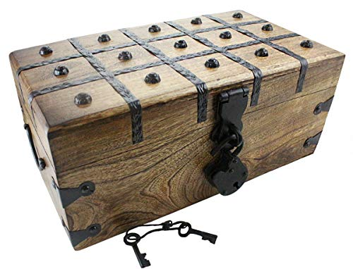 Wooden Pirate Treasure Chest Box 14 x 8 x 6 Includes Iron Lock Trunk Skeleton Keys By Well Pack Box ...