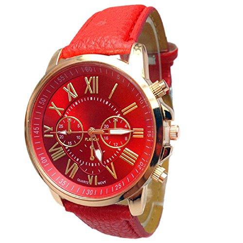 Faced Quartz Watch (AmyDong Women's Stylish Numerals Faux Leather Quartz Watch)