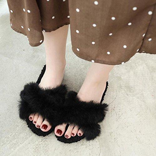 Flip couleur Xy® Beige Sandales Cool Personnalité Chic Black Bottom En Flop Femme 5 Eu36 Pantoufles cn35 Poilue Été Plat Mode Air uk3 Taille Plein xFap5FSwrq