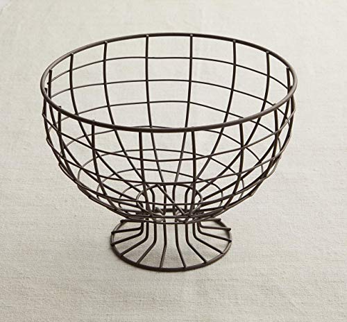 Metal Wire Pedestal Bowl, spring decorations, metal wire basket, wire fruit basket, rustic bowl, rustic decor, table centerpiece, fruit ()