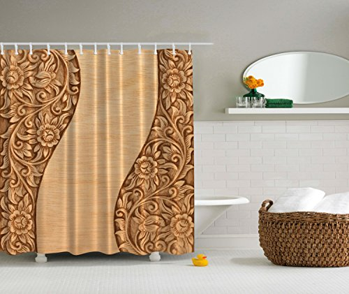 Country Decor Carved Wood Ornamental Flowers Shower Curtain Modern Bathroom Adornment Lake House Decor Products Decoration Lovely Home Decorating Fabric, Water Resistant, No Liner Needed, Brown Khaki