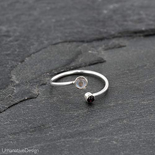 Toe Ring, Sterling Silver Open Adjustable Foot OR Midi Knuckle Ring with Rainbow Moonstone & Pink Garnet, Unique Bohemian Beach jewelry, Handmade Boho Wedding Accessories