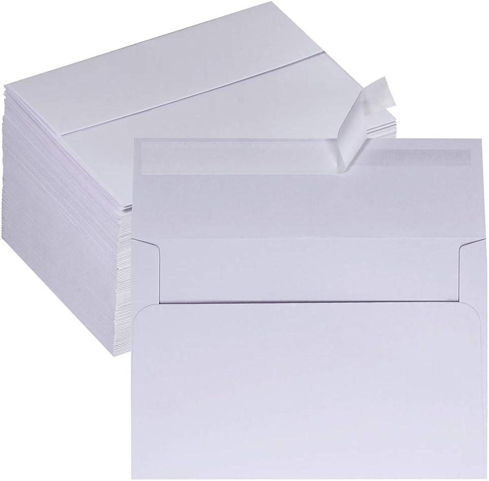 Supla 100 Pack A8 Envelopes Bulk Self Seal White Business Envelopes Wedding Invitation Envelopes 95 lb Photo Envelopes Greeting Card Envelopes for Weddings Graduation Baby Shower Invitations