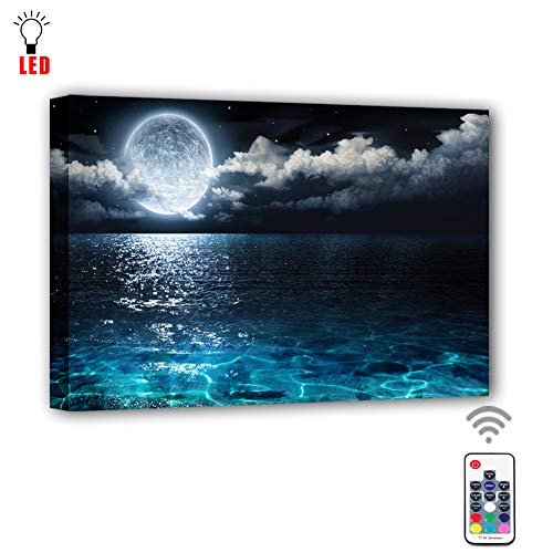 Coming My House Canvas Wall Painting Art Led with Remote Control,RGB Led Moon Sea Ocean Landscape Picture Canvas Wall Art for Living Room,7 Colors Change,Battery Operated-15.75