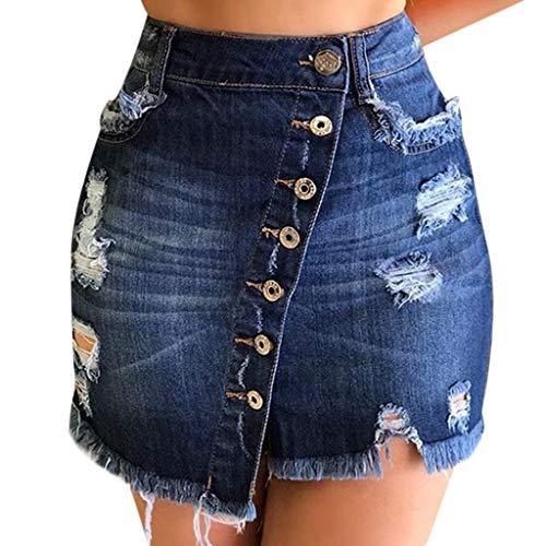 Riuda Women's Plus Size Shorts High Waisted Jean Skirt Fringed Slim Fit Denim Mini Skirt