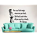Dr Seuss Wall Decal Quote Vinyl Sticker Decals Quotes You Can Find Magic Wherever You Look Wall Decal Quote Wall Decor Nursery Bedroom Baby Room ZX241