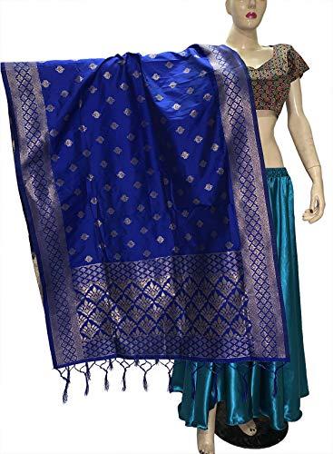 Indian Bridal Wedding Pakistani Banarasi Women Woven Cotton Silk Veil Dupatta Stole Chunni Shawl Scarf (II Royal Blue)