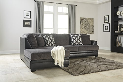 - Ashley Furniture Design - 32202 Kumasi Contemporary LAF Corner Chaise and RAF Sofa - Smoke