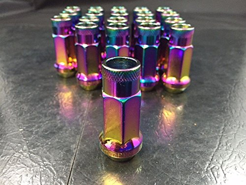 Customadeonly A Set of 20 Pieces - Neo Chrome Finish Tuner Wheel Lug Nuts - Open End - 48mm Length - Conical Seat - 1/2