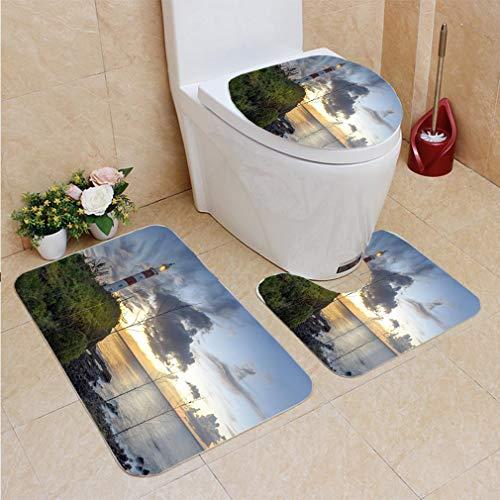 3 Sets of Bathroom Home, Bathroom Carpet + Contour pad + lid Toilet seat,Albion Lighthouse, Flannel ()