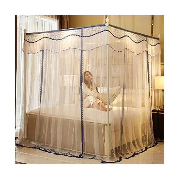 Princess 3 Side Aperture Messaggio letto a baldacchino cortina di zanzariere Net Biancheria da letto, 4 angolo Messaggio… 3 spesavip