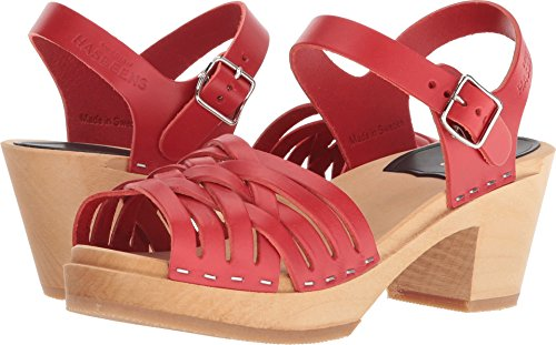 Swedish 1 Red High Sandal Women's Braided Hasbeens Heeled 4Bx4wr1OSq