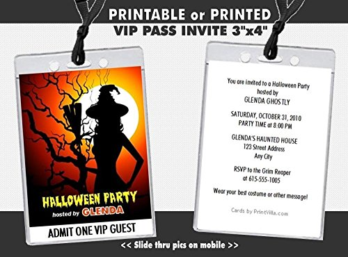 Witch Tree Halloween Party VIP Pass Invitation, Printable or Printed Option -