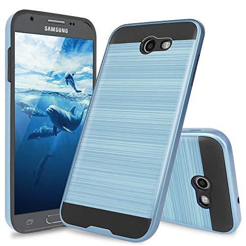 Galaxy J7 Sky Pro Case, Galaxy J7 Perx Case, Galaxy J7 V Case, Galaxy Halo Case, Galaxy J7 Prime Case, TJS Dual Layer Hybrid Shockproof Case Metallic Brush Finish With Hard Inner Layer (Dark Blue)