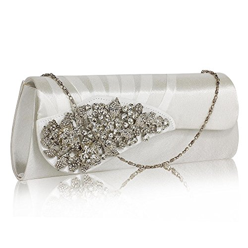 Satin Clutch Ruched Crystal Flower Ivory With Stunning FREE UK DELIVERY wPR4EqP