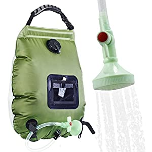 Solar Shower Bag, RISEPRO 5 gallons/20L Solar Heating Premium Camping Shower Bag Hot Water with Temperature 45°C Removable Hose on/off Switchable Shower Head Hiking Climbing Summer Shower K8