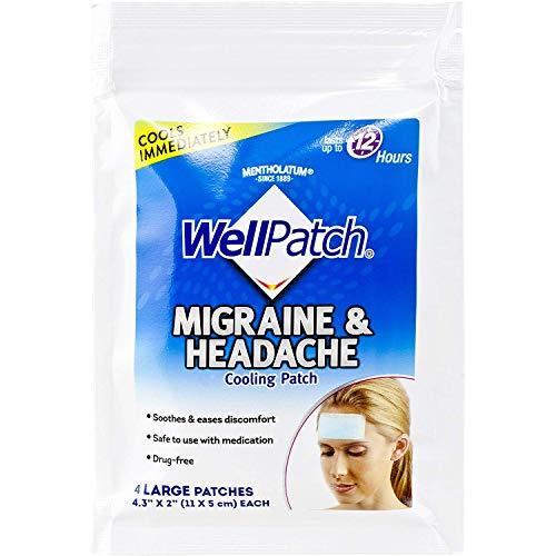 WellPatch Cooling Headache Pads, Migraine, 4 Large Patches- 4.3 x 2 Inch (Pack of 6) (Headache Wellpatch Pads Migraine Cooling)