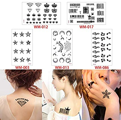 slldyax Pequeño tatuaje impermeable del cuerpo pegatina negra ...