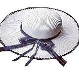 Sllxgli new Black and white Striped Hat Sunscreen Beach hat Big straw hat