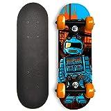 RudeBoyz 17 Inch Mini Wooden Cruiser Graphic Beginner Skateboard (Robot Design)